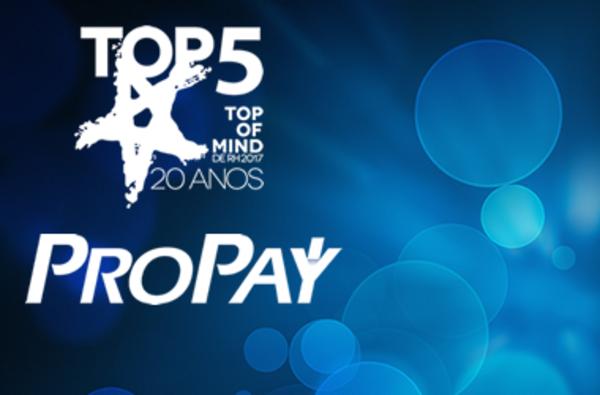 ProPay está no top 5 do prêmio Top of Mind de RH 2017